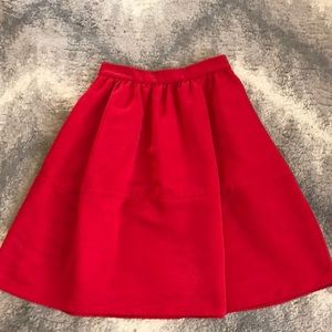 Express Red A-Line Tea Length Skirt with Pockets